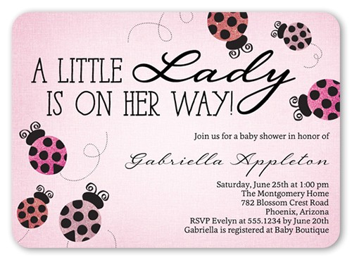 ladybug sparkle baby shower invitation 5x7 flat
