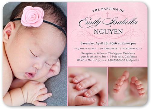 elegant lace girl baptism invitation 5x7 flat