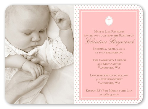 seraphic dots pink baptism invitation 5x7 flat