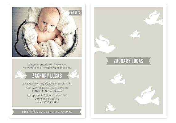 babys christening invitations thank you cards