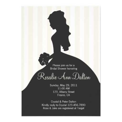 bride silhouette bridal shower stripes ivory invitation
