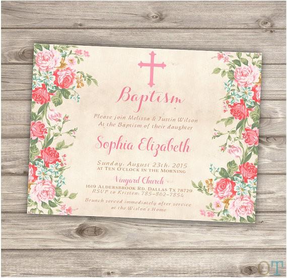 baptism invitations floral cross pink