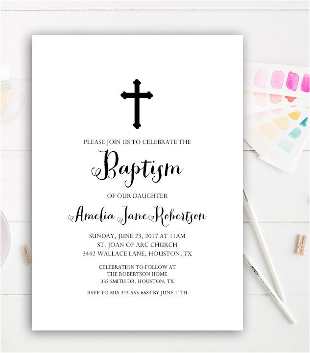 editable baptism invitation diy simple black white elegant instant pdf template