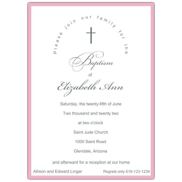 Simple Baby Girl Baptism Invitations p 605 57 PSDW7015
