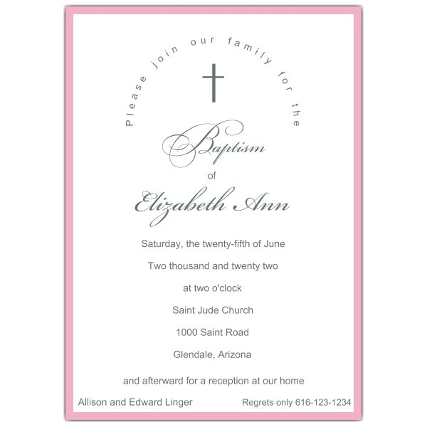 Simple Baby Girl Baptism Invitations p 605 57 PSDW7015
