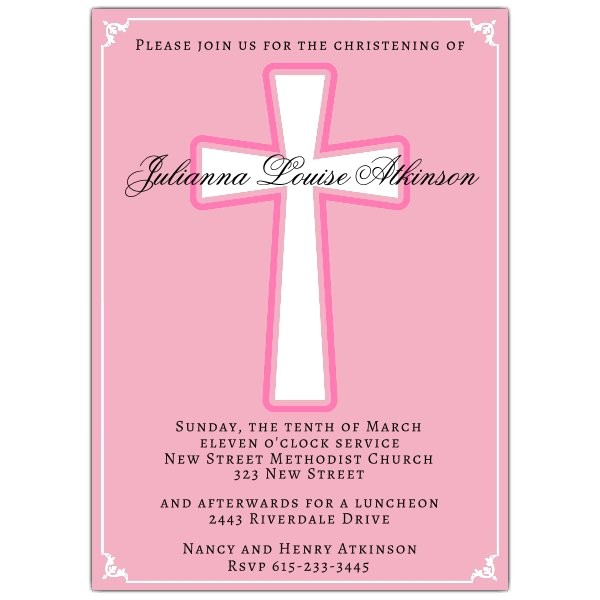 Simple Cross Girl Baptism Invitations p 612 57 IJP