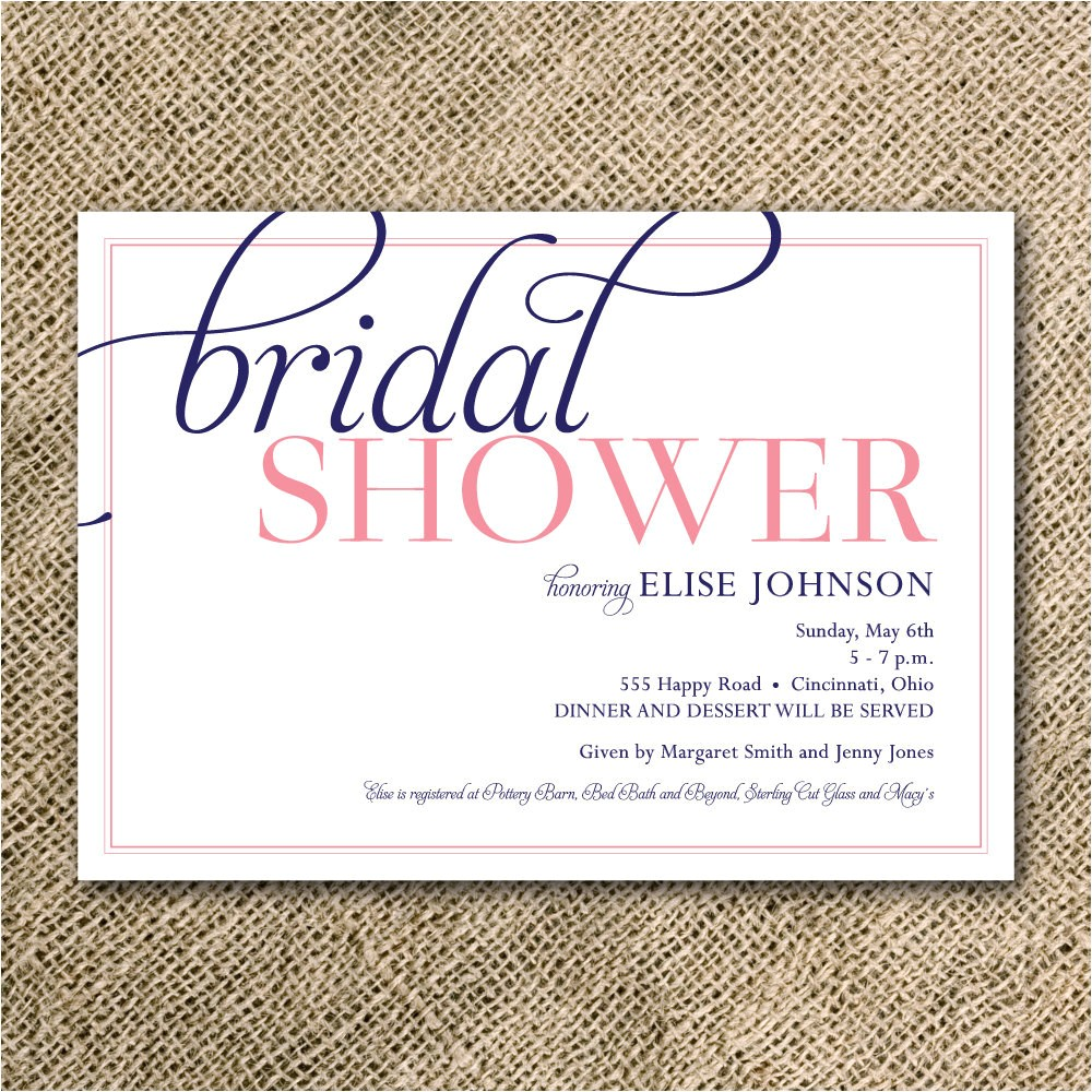 bridal shower invitation simple modern