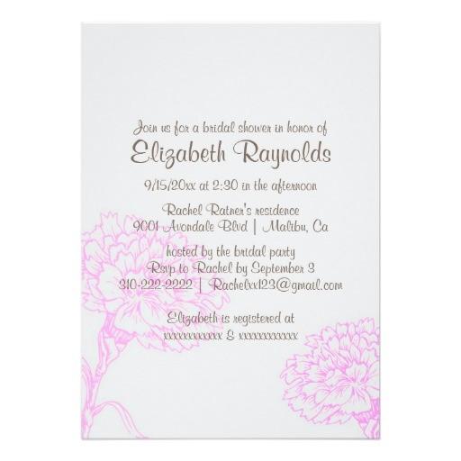 simple pink brown bridal shower invitations