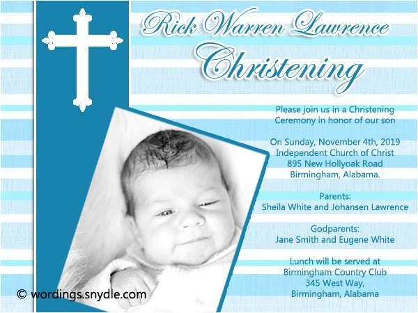 christening invitation wording