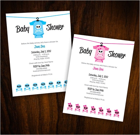 baby shower invitation skull crossbones