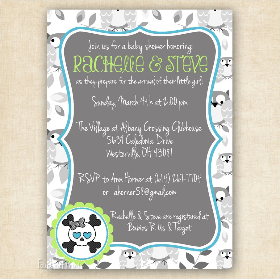 owls and skulls baby shower invitation