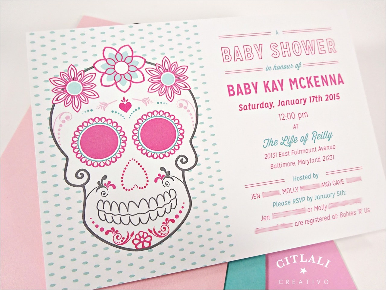pink floral sugar skull with roses baby shower invitation