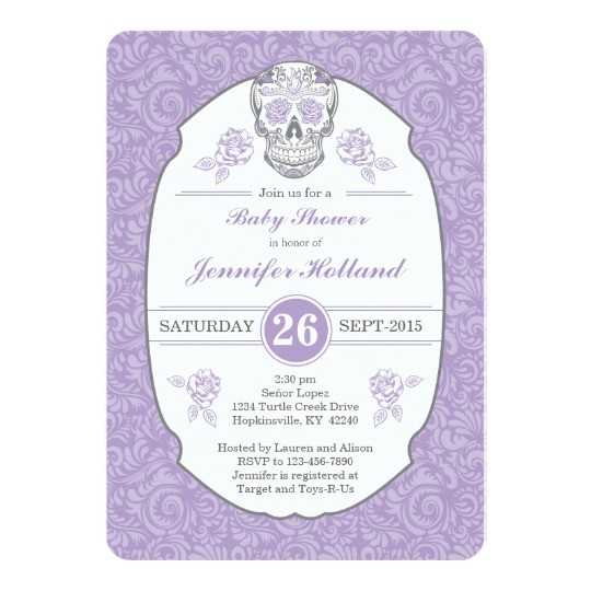 purple fancy damask skull baby shower invitation