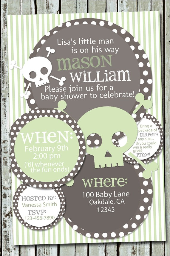 skull baby shower invitation rocker