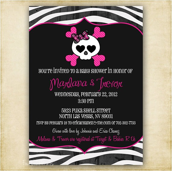 zebra skull baby shower invitation