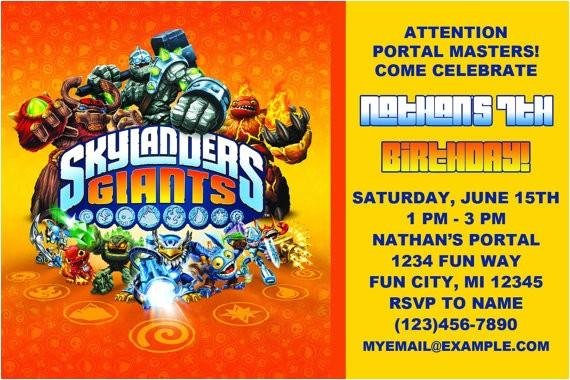 printable skylanders birthday invitation