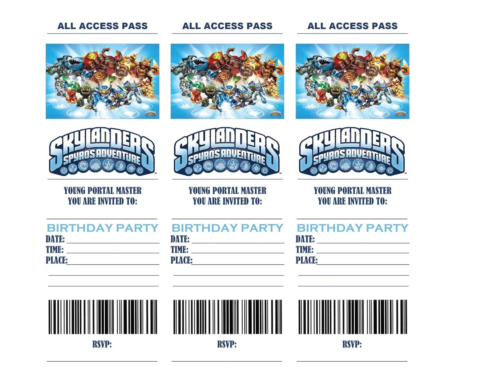 skylanders birthday party invitations