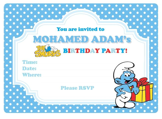 free smurf invitation