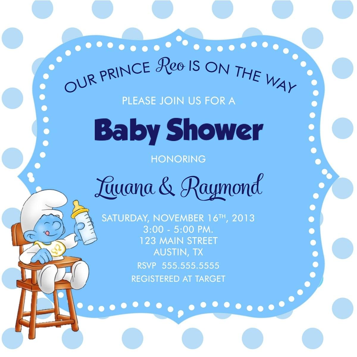 Smurf Baby Shower Invitations Smurf Baby Shower Invitation