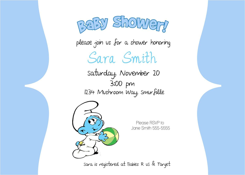 smurf birthday invitations