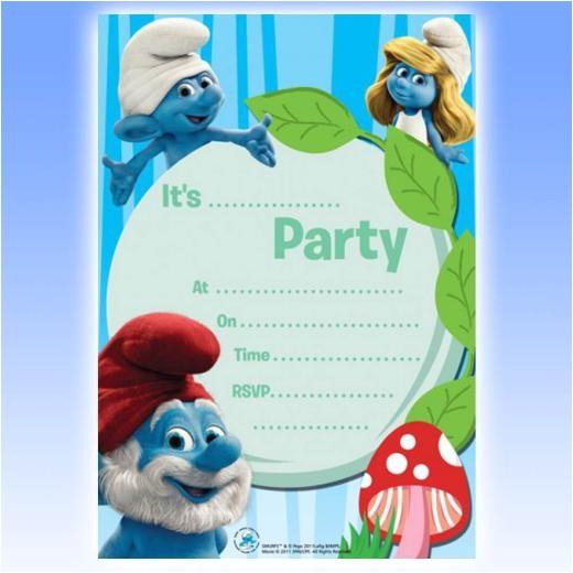 smurfs baby shower invitations