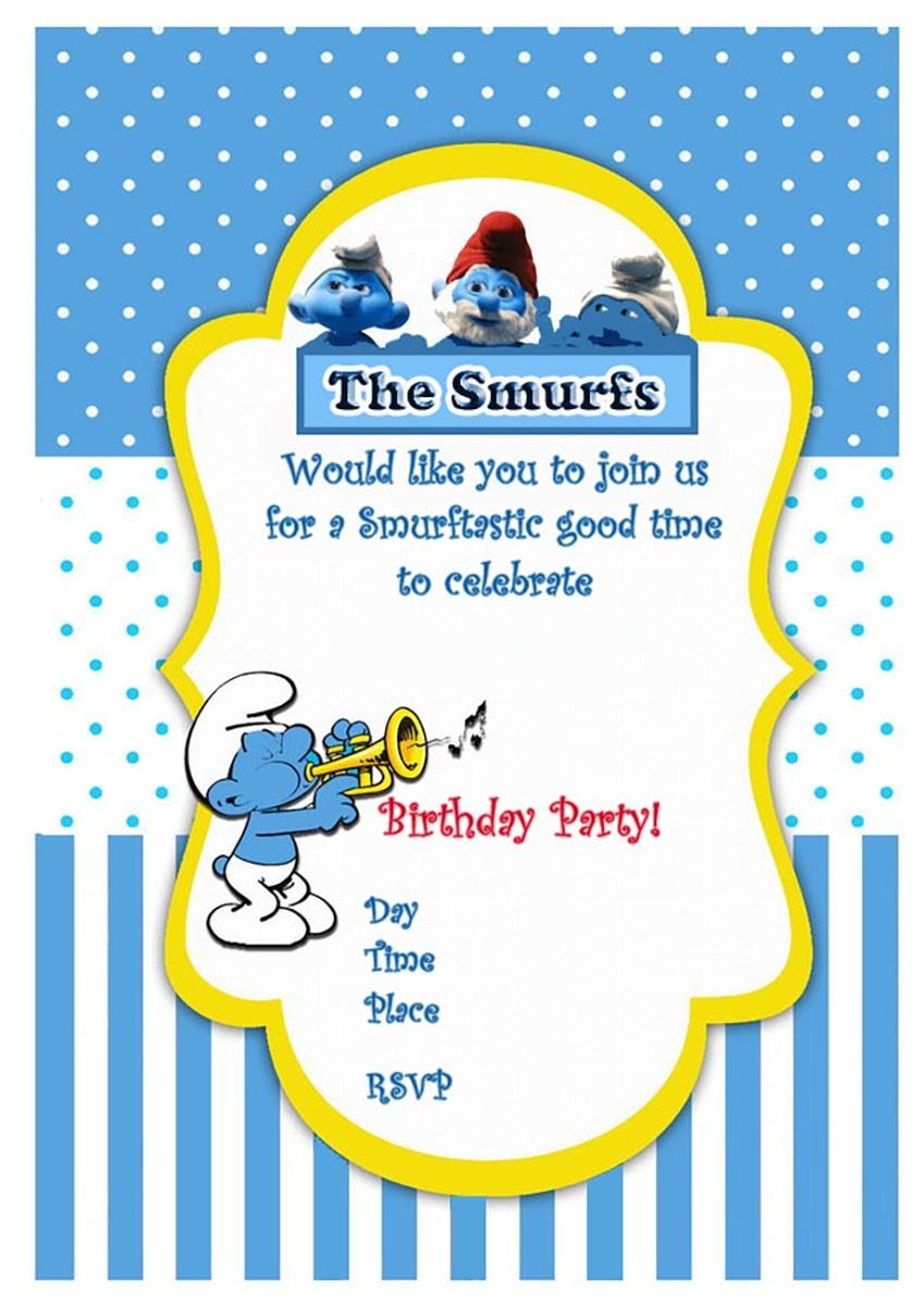 smurfs birthday party invitation