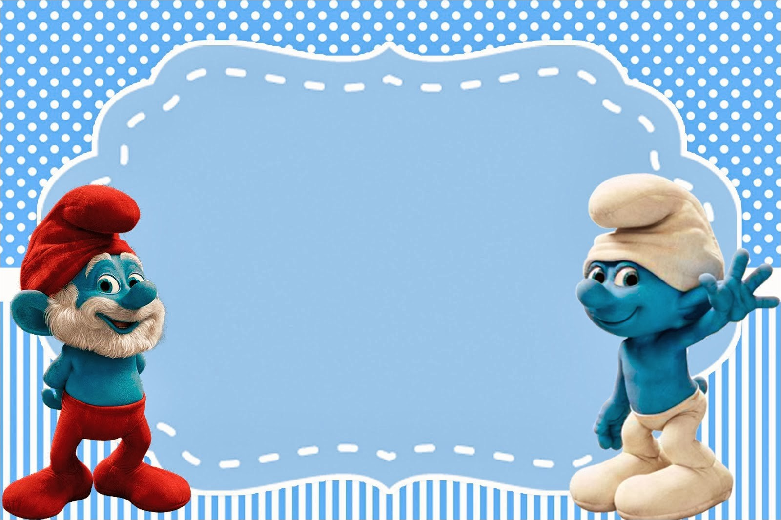 smurfs invitations and party free 1