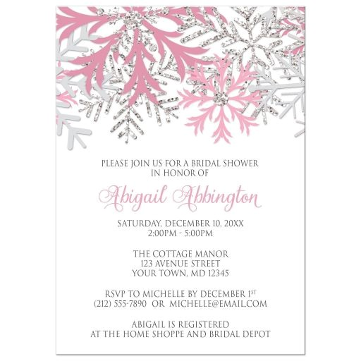 bridal shower invitations winter snowflake pink silver