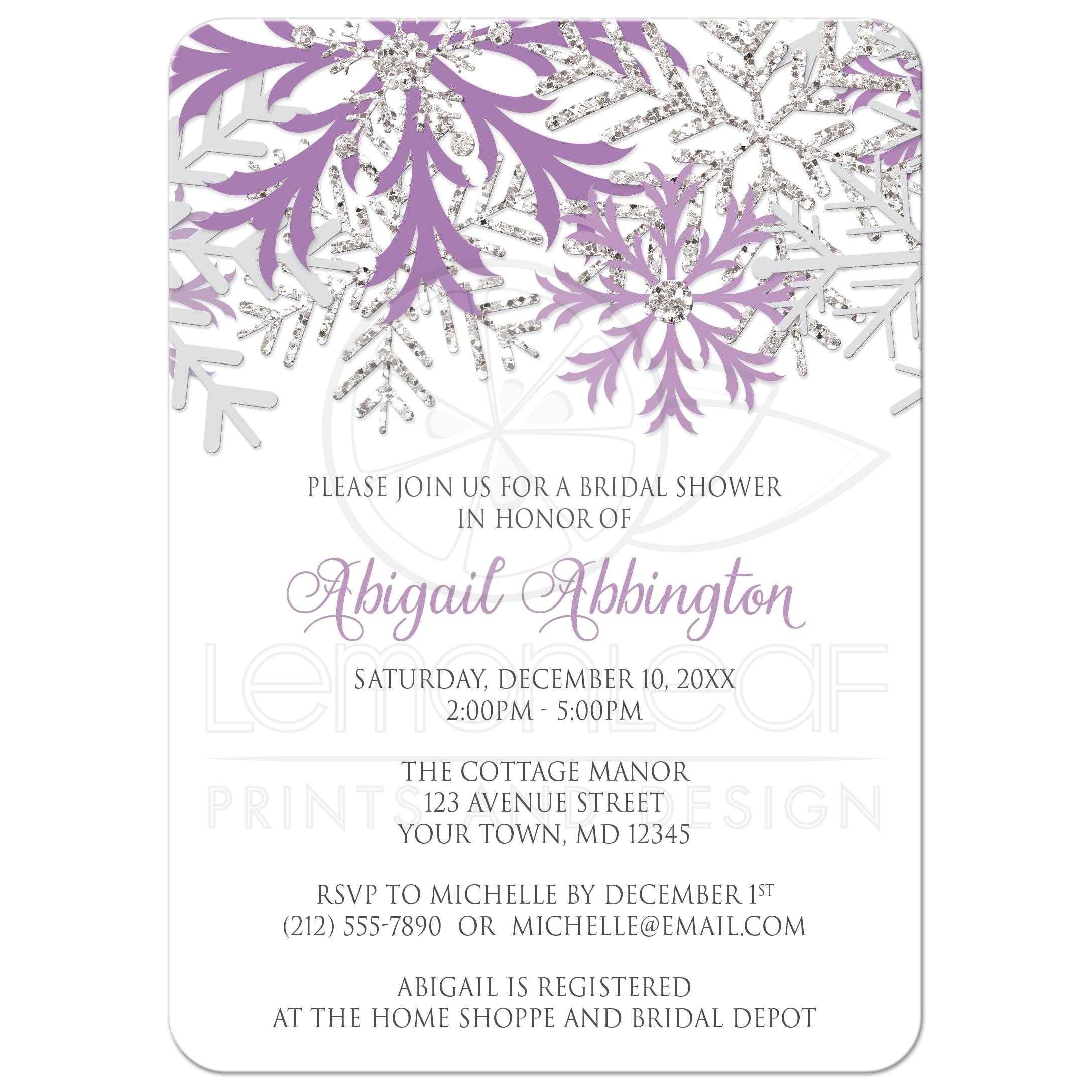 bridal shower invitations winter snowflake purple silver