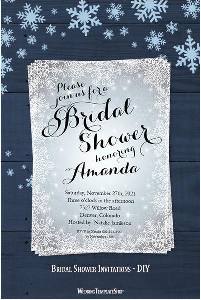 snowflake bridal shower invitation winter silver white