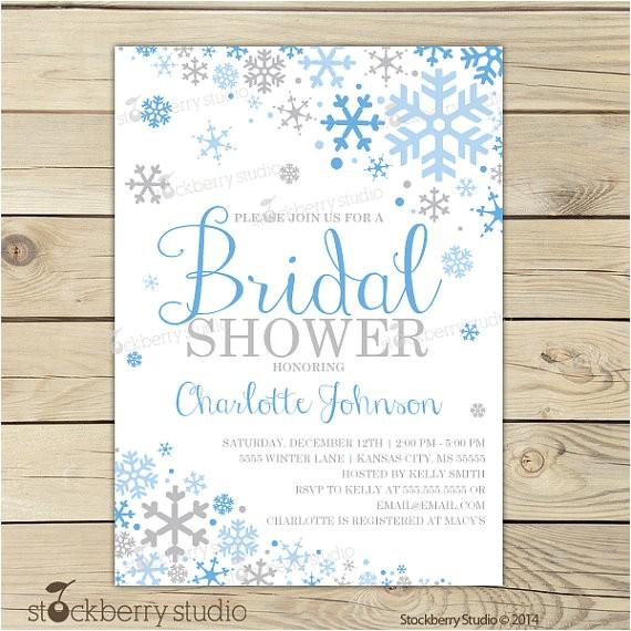 winter bridal shower invitation blue silver