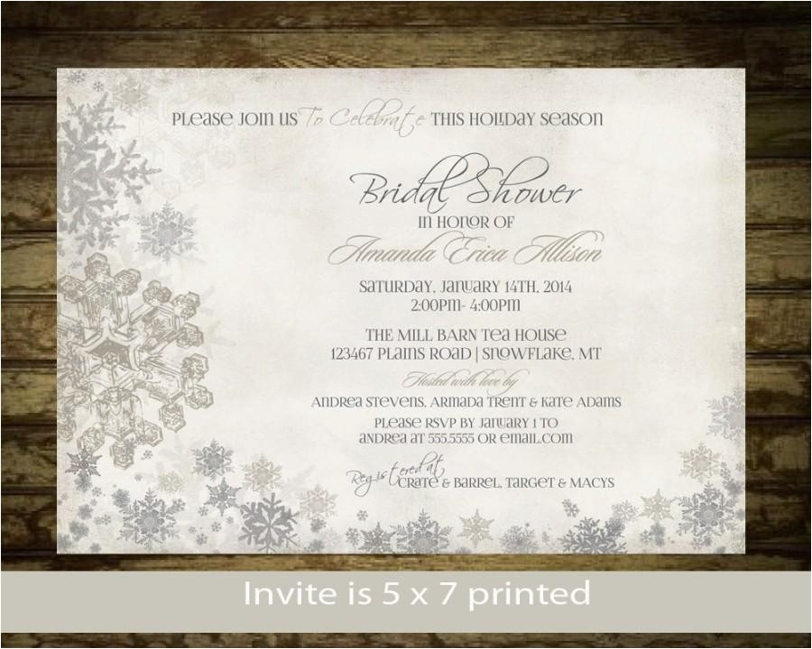 winter bridal shower invitation snowflakes bridal shower invite printable digital silver and gold snowflake rustic bridal shower digital
