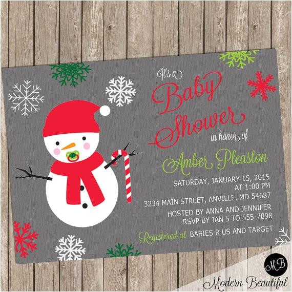 snowman christmas baby shower invitation baby