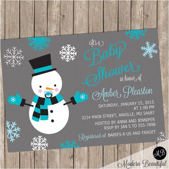 snowman shower invitation boy winter baby
