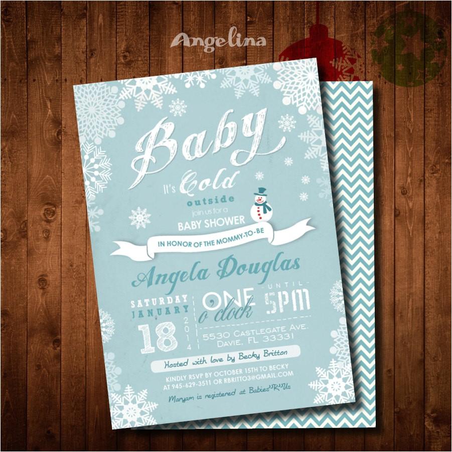 winter baby shower invitation snowman