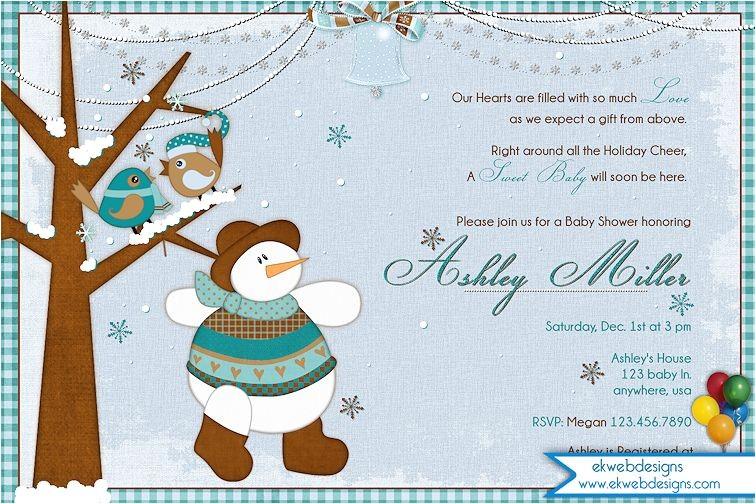 winter birds and snowman baby shower invitation winter baby shower invitation