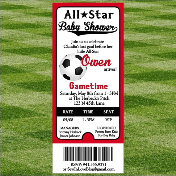 soccer baby shower invitation
