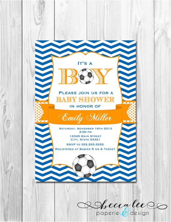 soccer baby shower invitation chevron