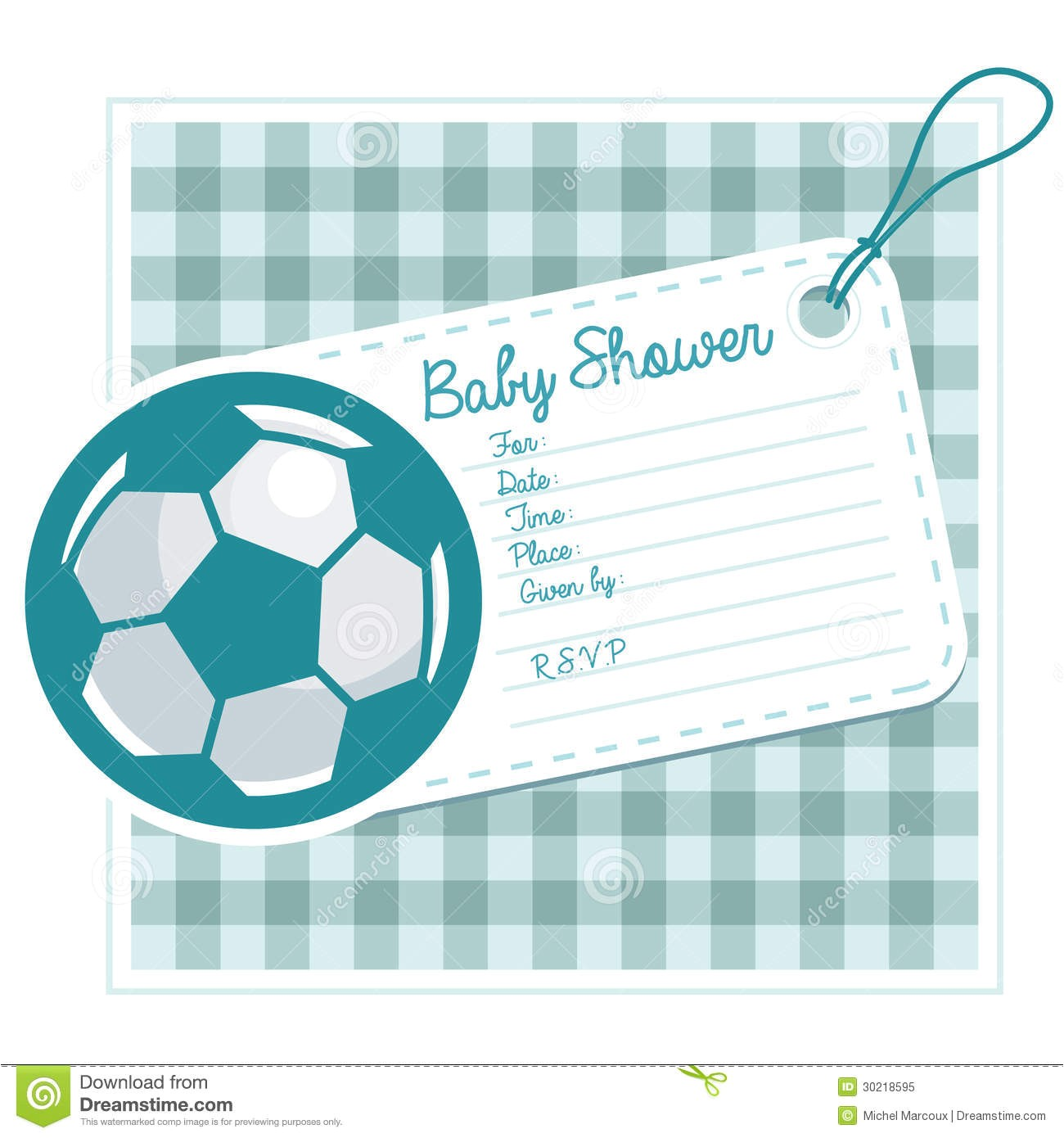 royalty free stock photo baby shower invitation card soccer ball image