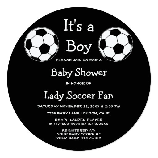 soccer ball sports its a boy or girl baby shower invitation