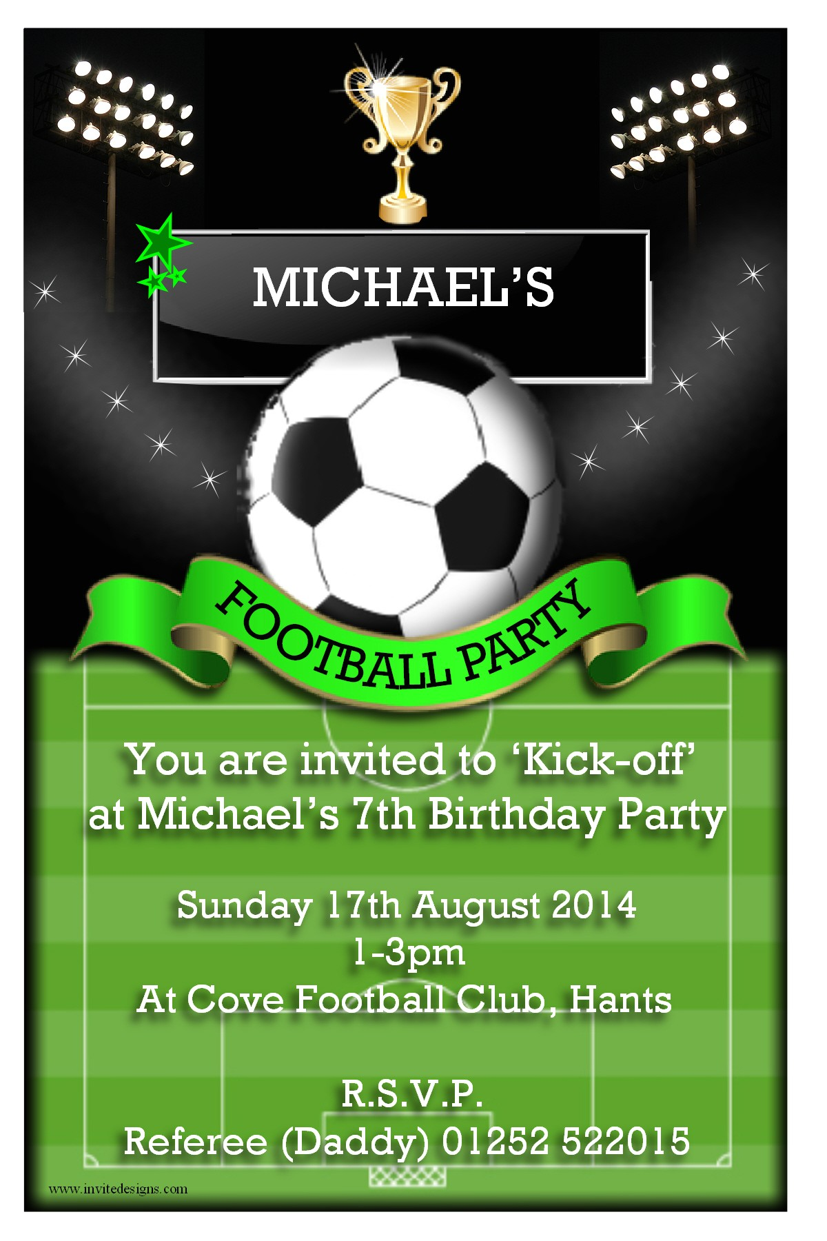 awesome birthday soccer party invitations