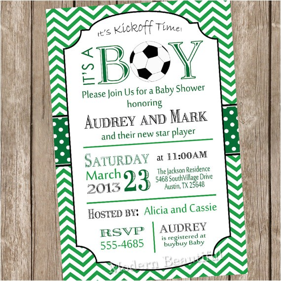 chevron soccer baby shower invitation
