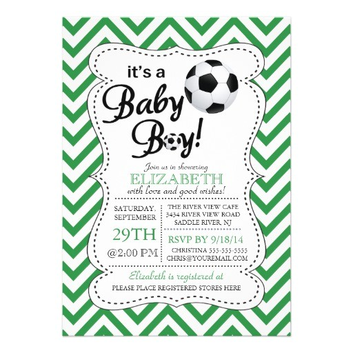 modern chevron its a baby boy soccer baby shower invitation
