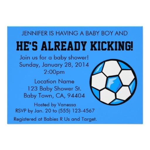 Soccer themed Baby Shower Invitations soccer Baby Shower Invitation Customizable Card