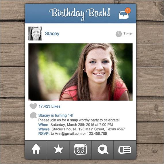 social media birthday invitation teen