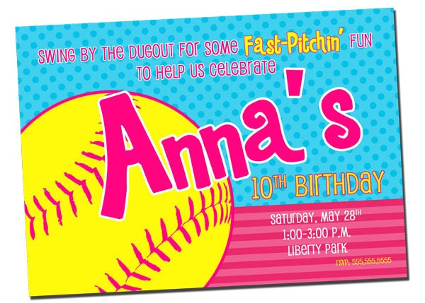 printable softball birthday party