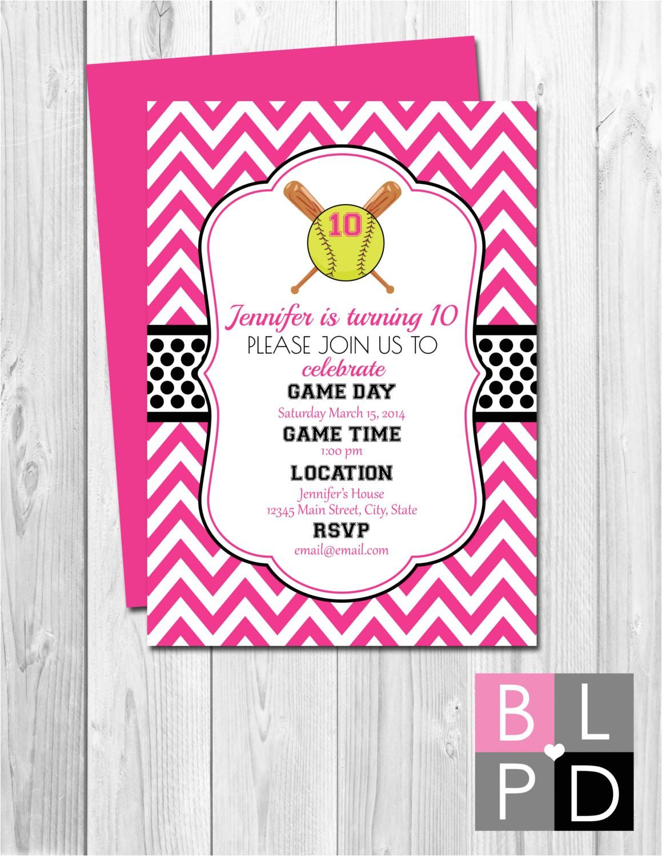 softball birthday party invitation pink
