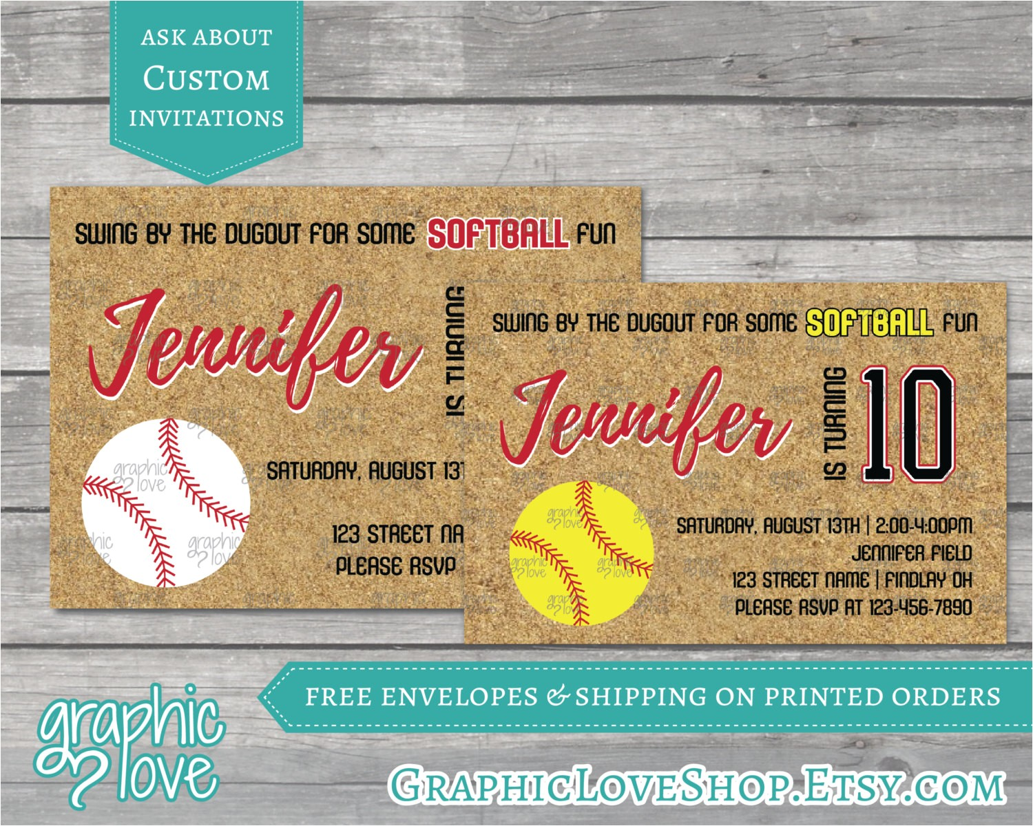 fastpitch softball birthday invitations