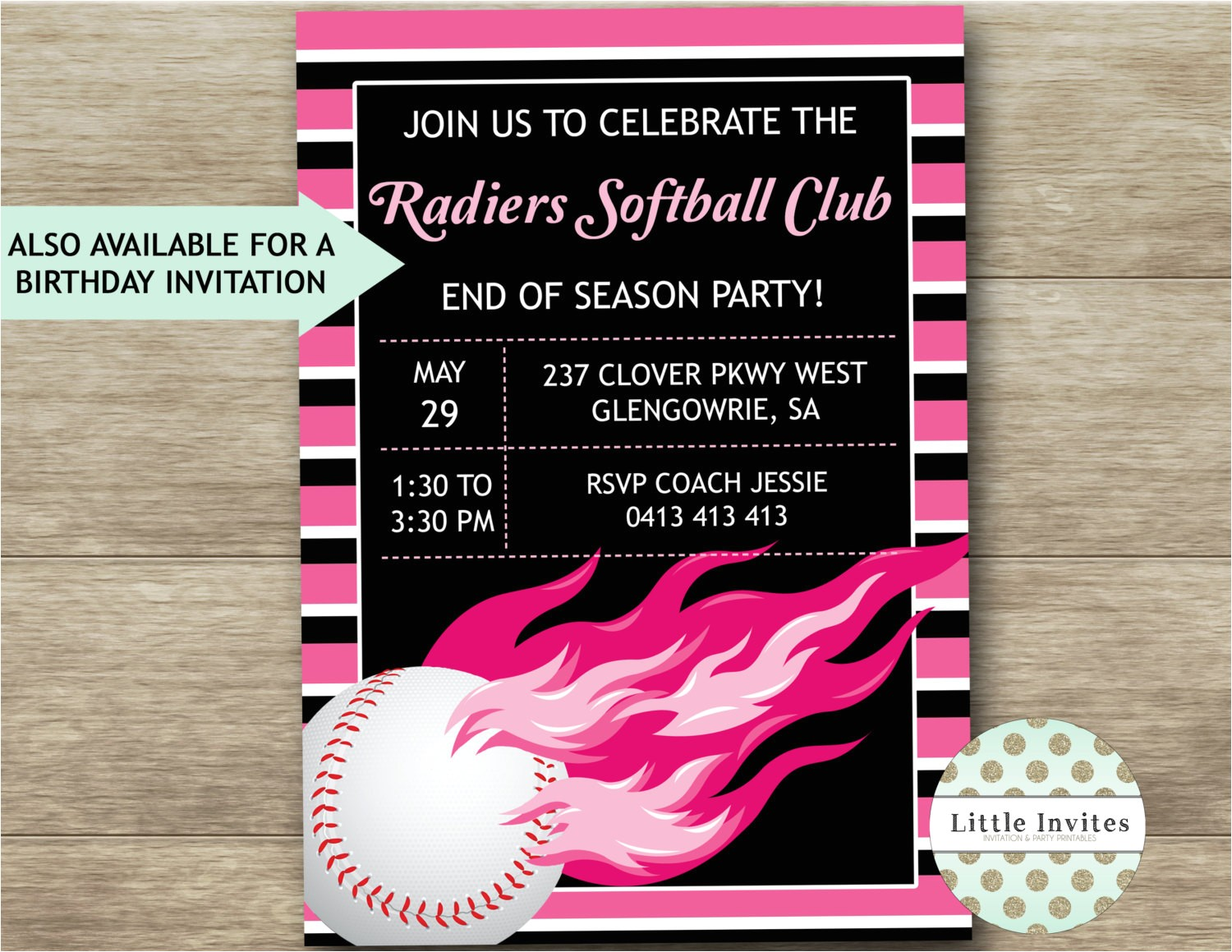softball birthday invitationssoftball