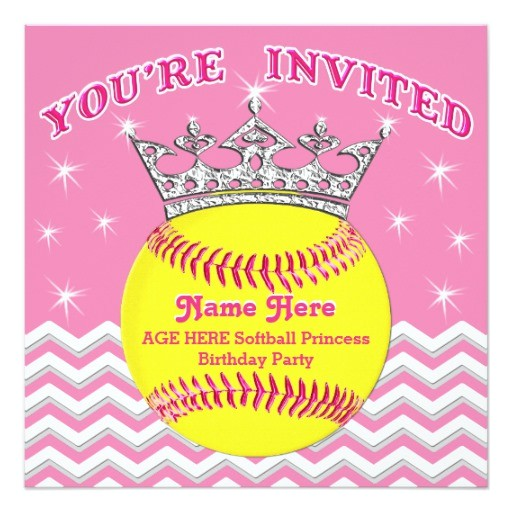 softball princess softball birthday invitations 256447125588101066